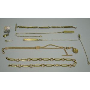 Two 14kt Gold Pocket Knives and Fancy Link Chains, Three Gold-filled Chains, and Assorted Cuff Links and a Stud.