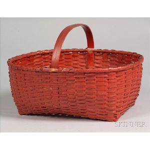 Red-Painted Woven Splint Basket