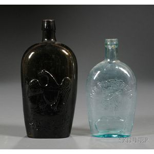 Two Mold-blown Glass Flasks