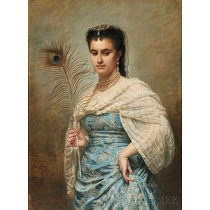 Zoé Laure de Chatillon (French, 1826-1908)      Woman with a Peacock Feather