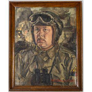 Framed Theo Bleser Tank Officer Portrait