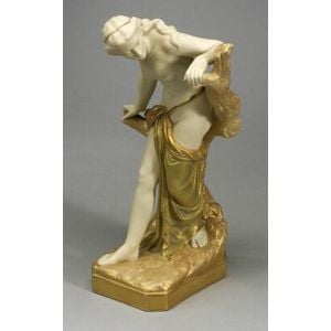 """Royal Worcester Porcelain Model of the """"Bather Surprised,"""""""