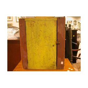Polychrome Painted Wooden Wall Cupboard