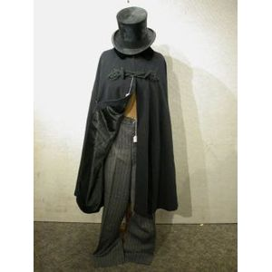 Mans Top Hat, Velvet and Braid-trimmed Wool Cape and Brooks Bros. Striped Wool Trousers.