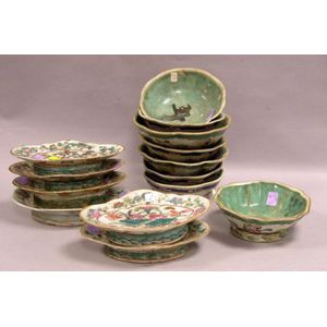 Set of Six Chinese Porcelain Domestic Footed Dishes and Eight Bowls.