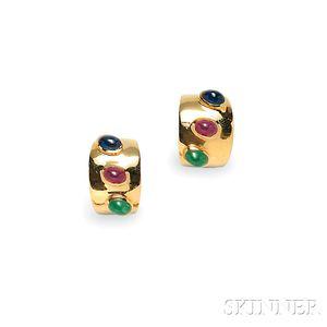 14kt Gold Gem-set Earclips