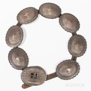 Navajo Silver Concha Belt