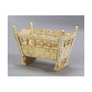 Carved and Engraved Miniature Whalebone Cradle