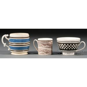 Three French Dipped Ware Pottery Items