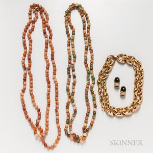 Christian Dior Gold-plated Necklace and Earclips and a Costume Bead Necklace
