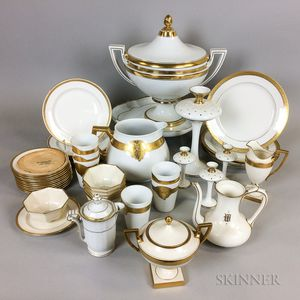 Approximately Forty-five Pieces of Gold-band Porcelain Tableware