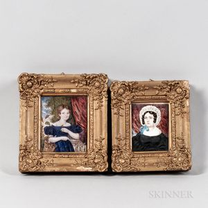 American School, Mid-19th Century      Pair of Portrait Miniatures of a Woman and a Girl