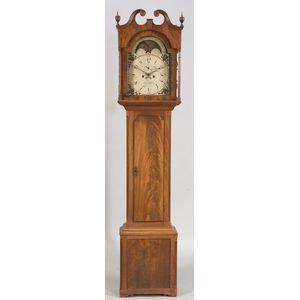 Federal Mahogany and Mahogany Veneer Tall Case Clock