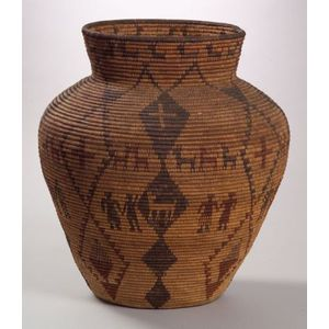 Southwest Polychrome Pictorial Basketry Olla