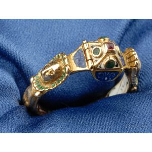Renaissance Revival Enamel and Gem-set Ring