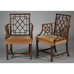 "Pair of George III-style Mahogany ""Cockpen"" Armchairs"