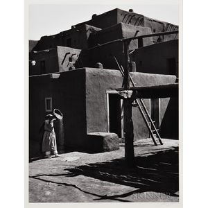 Ansel Adams (American, 1902-1984)      Winnowing Grain, Taos Pueblo, New Mexico