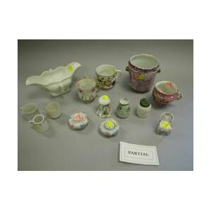 Group of 19th and 20th Century Decorated Porcelain and Glass Table Items.