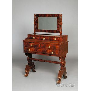 Classical Mahogany Carved and Mahogany Veneer Mirrored Dressing Table