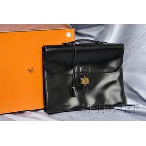 Black Leather Briefcase, Hermes, Paris