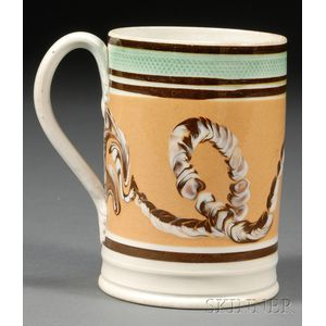 Earthworm Decorated Mochaware Mug
