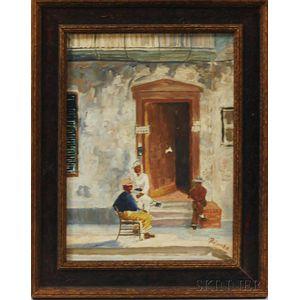 Framed Oil on Masonite Figural Scene