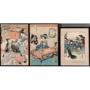 Five Woodblock Prints in Three Frames