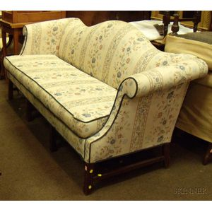 Chippendale-style Upholstered Camel-back Maple Sofa
