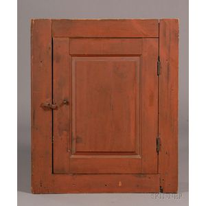Red-painted Pine Chimney Cupboard