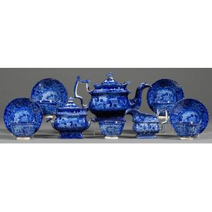 Blue Transfer-decorated Staffordshire Pottery Partial Tea Service