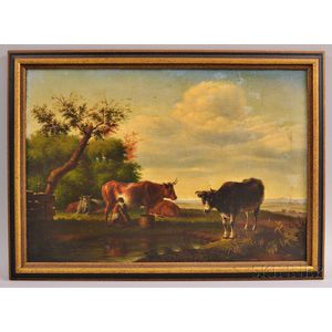 European School, 19th Century     Landscape with Cows and Milkmaid