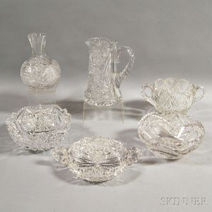 Six Pieces of American Brilliant-cut Colorless Glass