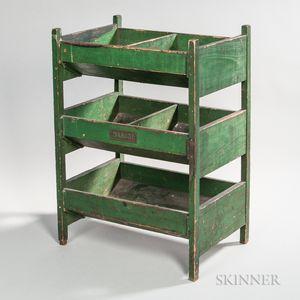 Green- and Black-painted Three-tier Vegetable Bin