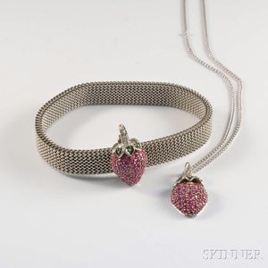 14kt White Gold and Ruby Strawberry Suite