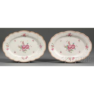 Two Small Oval Chinese Export Porcelain Platters