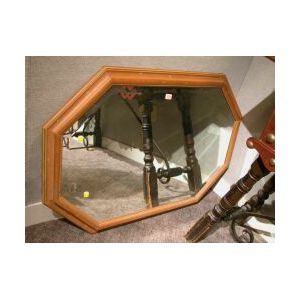 Continental Molded Fruitwood Framed Octagonal Beveled Glass Mirror.