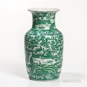 Green-enameled Transfer Vase