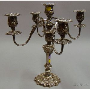 Silver Plated Convertible Five-light Candelabra