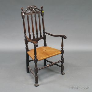 Stained and Carved Bannister-back Armchair
