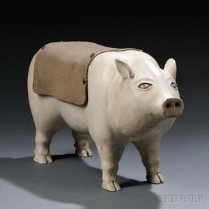 Folk Carved and Painted Pig Sculpture