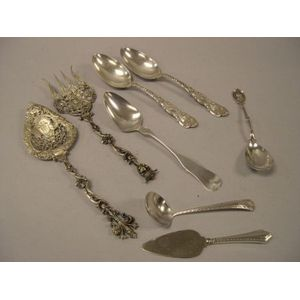 Pair of Gorham Sterling Silver Spoons, a Coin Silver Spoon, a Pair of Continental Silver Serving Spoons, and Three Assorted Sterling Se