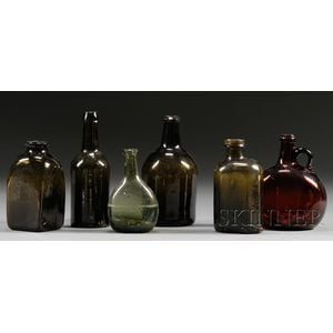 Six Early Colored Blown Glass Bottles