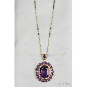 Antique Amethyst and Seed Pearl Pendant
