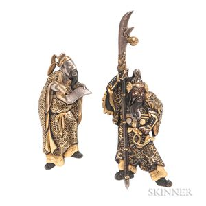 Two Shakudo Figural Brooches