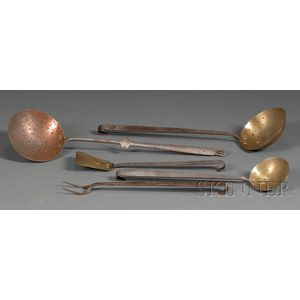 Five Brass or Copper, and Wrought Iron Culinary Tools