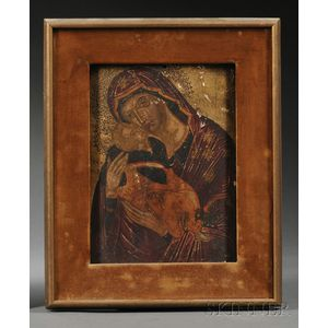 "Eastern European Icon Depicting the ""Sweet Kissing Mother of God,"""