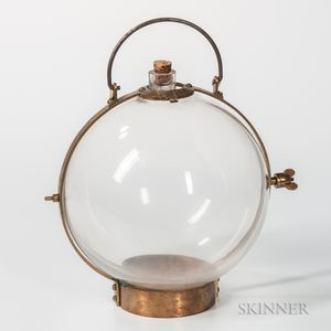 9-inch Colorless Glass Brass-mounted Water Lens or Globe