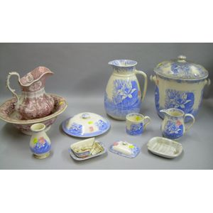 Six-piece Copeland Blue and White Transfer Lotus Decorated Chamber Set, a W.R. Red and White Oriental Pattern S...