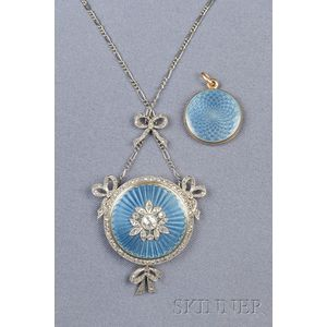 Edwardian Enamel and Diamond Pendant Locket