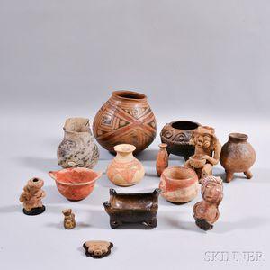 Fourteen Miscellaneous Pottery Items